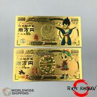 2 Billet 10000 Yen Dragon Ball Z Gold / Carte Card Carddass / Banknote