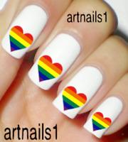 Rainbow Heart Nail Love Art Water Decals Stickers Manicure Salon Mani Polish
