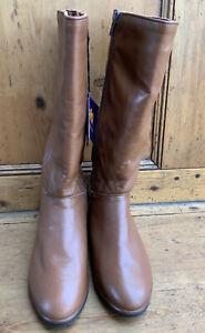 Women's Luxury Flat Tan Leather Tan Boots By Church 6uk NWTG's Sheepskin Lining