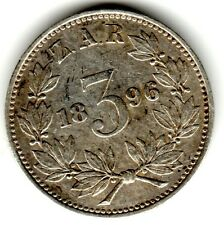 1896 3d Silver THREE PENCE threepence thrupence  Paul Kruger South Africa ZAR