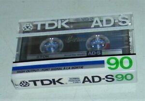 TDK NEW IN PACKAGE Sealed AD-S90 Normal Acoustic Cassette Tape Type 1