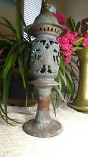 17 Inches Vintage Bronze Lantern With Candle