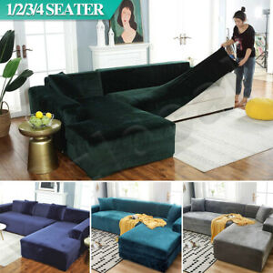 Velvet Sofa Cover Couch Covers 1 2 3 4 Seater Slipcover Lounge Protector Stretch