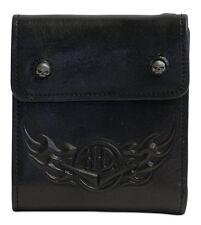 HDMWA10693 Harley Davidson Mens Compression Fold H-D Flames Black Leather Wallet
