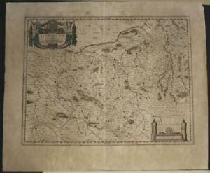 DUCHY OF BERRY FRANCE 1650 WILLEM BLAEU UNUSUAL ANTIQUE COPPER ENGRAVED MAP