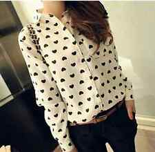 New Fashion Womens Ladies Loose Chiffon Tops Long Sleeve Shirt Casual Blouse S