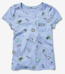 New Justice Girls Top 12 year Sea Turtle Narwhal Peace Love Besties Blue Tee