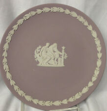 "WEDGWOOD JASPERWARE CREAM COLOR ON LILAC PURPLE COLLECTOR PLATE 6.5"" AESCULAPIUS"