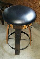 Wine / Whiskey Barrel Stave Legs Pub Whiskey Bistro Rustic Oak Stool w/ Swivel