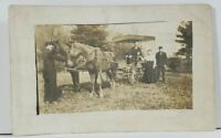 RPPC Family Posing with Buckboard Wagon & Horses Real Photo Postcard L9