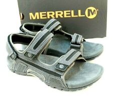 MERRELL Sand Spur Oak Size 9 M Black / Granite Leather Men's Sandals MSRP $79