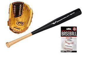 Baseball-Set für Rechtshänder - Schläger - Ball - Fanghandschuh - Baseball