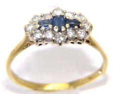 Ladies 18carat 18ct yellow gold sapphire & diamond ring. Stunning! UK Size - S