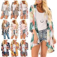 Womens Boho Floral Chiffon Shawl Kimono Cardigan Top Beach Cover Up Blouse Shirt