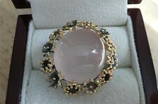 HUGE 925 SILVER GOLD ROSE QUARTZ GARNET FLOWER CABOCHON STATEMENT RING SZ R 9