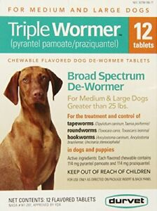 Durvet 12-Pack Triple Wormer Tablets for Medium and Large Dogs (12 Count)