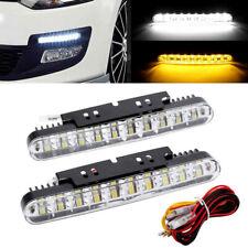 2 LED Car Daytime Running Light DRL Driving Turn Signal Fog Lamp White Amber 12V