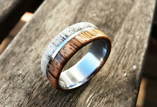 Titanium Ring with Deer Antler and Zebrano Wood, Wedding, Engagement, Mens Ring