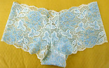 Ladies size 10 Low Rise Sheer Lacy boy Shorts Knickers Panties Blue