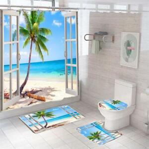 Seaside Chalet Bathroom Shower Curtain Bath Mats Lid Toilet Rug No-slip Carpet