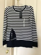 Women's Tommy Hilfiger Crew-Neck Striped Navy/White Sailed Sweater Sz XS