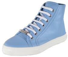 NEW Gucci Women's 423299 Blue Miro Soft Leather High Top Sneakers Shoes 35.5 5.5