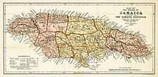 Map of the island of Jamaica Colin Liddell 1893 Vintage Repro Print Wall Poster