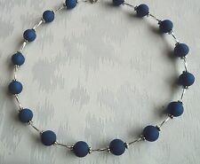 Perlen Kette Halskette Collier Polarisperlen dunkelblau Glasstäbe NEU