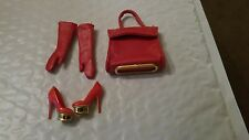 CHARLOTTE OLYMPIA BARBIE DOLL 3 PC.RED ACCESSORY SET GLOVES,SHOES,PURSE