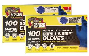 2 Pack x 100 Heavy Duty Nitrile Gloves Grease Monkey Gorilla Grip Traction  LG