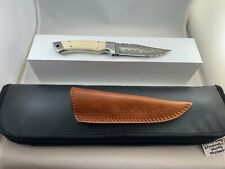 Damascus Drop Point Hunting Knife, Stag Handle with Leather Sheeth & Storage Bag