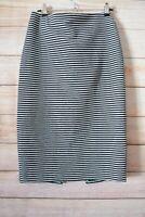 Seed Heritage Pencil Skirt Size Medium Blue White Stripe Stretch
