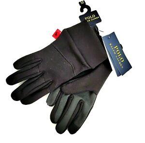 Polo Ralph Lauren Men's Black Classic Jersey Fleece I-Touch Gloves MEDIUM NWT