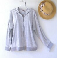 New~Natori~Gray French Terry Jacket Zip-Up Hoodie Boho Top~Size Medium M
