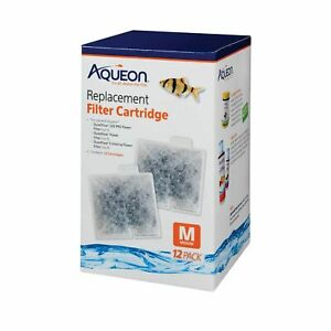 Aqueon Cartridges 12 Pack Medium for filters QuietFlow Led 10, E20. Replacement