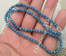 """Natural 4mm Aquamarine FACETED Rondelle Beads Necklaces 18"""" 925Silver Clasp"""