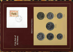 Coin Sets of All Nations French Polynesia card 1984-1986 UNC 1,2,5,100 Francs 86