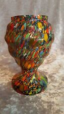 Weltz Art Deco Ribbed Body Spatter Glass Multi Color Vase