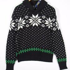 Polo Ralph Lauren Men's Intarsia Knit Shawl Collar Sweater Black Size Medium