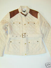 NWT Womens Ralph Lauren Quilted Barn Suede Patch Belted Jacket Coat XL Cream NEW
