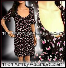 KATE MOSS VINTAGE 40s WW2 TOPSHOP BLACK GREEN PINK FLYING HEARTS TEA DRESS UK 10