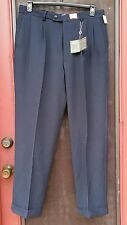 ALAN FLUSSER GOLF PANTS 34Wx30L PLEATED NAVY BLUE COMFORT WAISTBAND WICKING NEW
