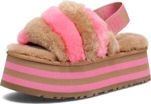 UGG Women's Disco Stripe Slide 1120875 Chestnut/Pink Rose Combo Size 5-12 NEW