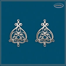 2pcs/1pair  925 Sterling Silver Bead Filigree Chandelier Earring Wire Connector