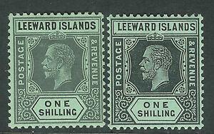 Leeward Islands 1912 black/green 1/- black/green white back 1/- mint SG54/54a