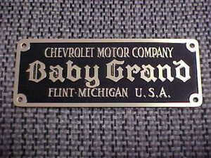 Chevrolet Baby Grand small etched brass body plate 1914 Flint Michigan