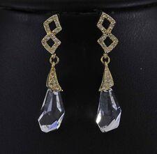 14k gold GF Dangle Drop Earrings use Swarovski Clear Crystal