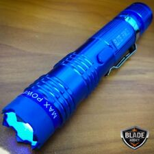 BLUE MONSTER Metal POLICE Stun Gun 300 Million Volt Rechargeable LED Flashlight