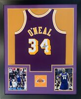 Shaquille O'Neal Autographed Lakers Mitchell Ness Swingman Framed Jersey Beckett