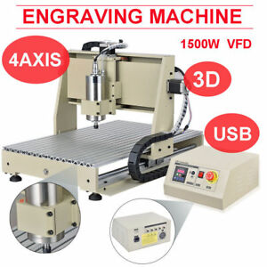 1500W USB 6040 4 Axis CNC Router Engraver Engraving Mill Carving Machine Desktop